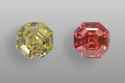 Выращенный в лаборатории бриллиант весом 10,06 карат меняет цвет с желтого на розовый